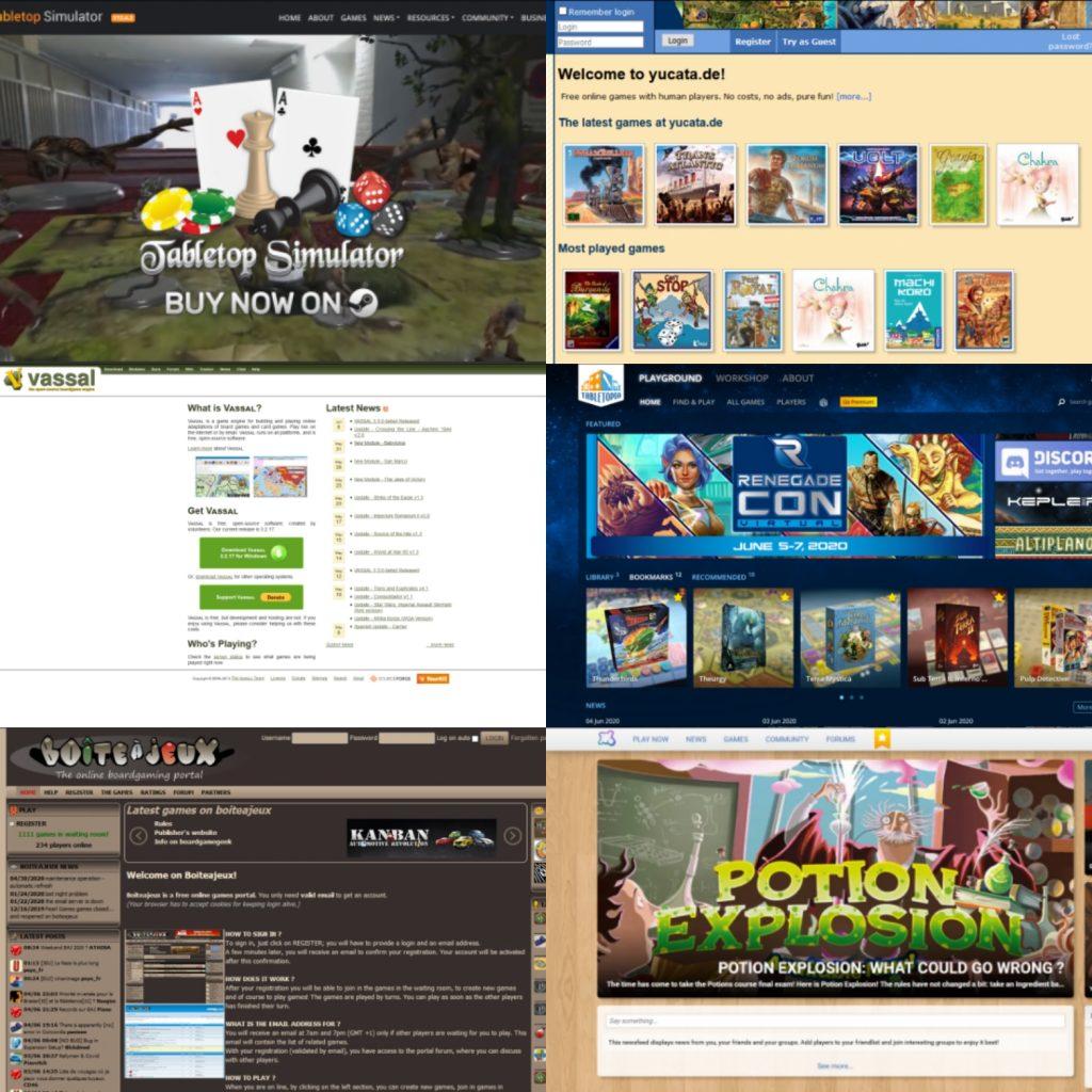 Screenshots of: Tabletop Simulator; Yucata; Vassal; Tabletopia; Boiteajeux; Table; Board Game Arena