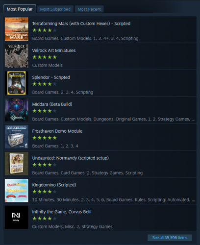 """Tabletop Simulator: Steam community workshop page, listing the most popular items for all time. """"See all 35,596 items."""""""