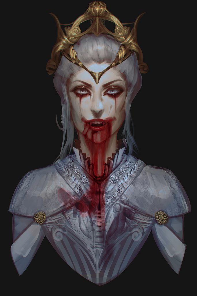 Vampire bust. Woman with a crown and elegant clothing, and blood dripping from her open mouth.
